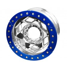 "17"" Aluminum Beadlock Wheel, (8 on 170mm w/ 4.25"" BS), Blue Segmented Ring"