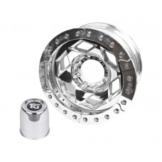 "17"" Aluminum Beadlock Wheel, (8 on 170mm w/ 4.25"" BS), Polished Segmented Ring"