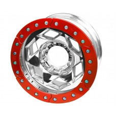 "17"" Aluminum Beadlock Wheel, (8 on 170mm w/ 4.25"" BS), Red Segmented Ring"